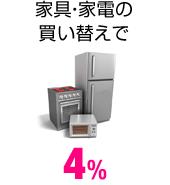 家具・家電の買い替えで 4%