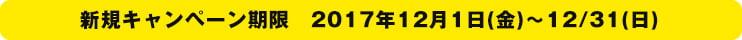 新規キャンペーン期限 2017年12/1(金)~12/31(日)