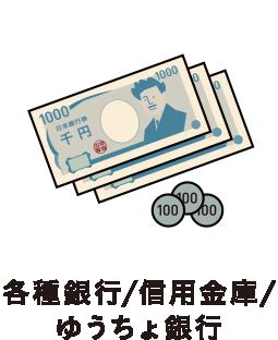 各種銀行/信用金庫/ゆうちょ銀行