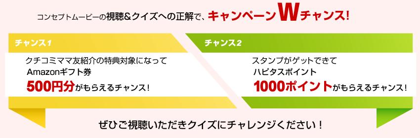 コンセプトムービー視聴後、正解することで最大1500円分がもらえる!